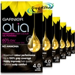6x Garnier Olia 4.0 Dark Brown Permanent Hair Colour No Ammonia Dye