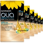 6x Garnier Olia 112 Super Light Beige Blonde Permanent Hair Colour Dye No Ammonia