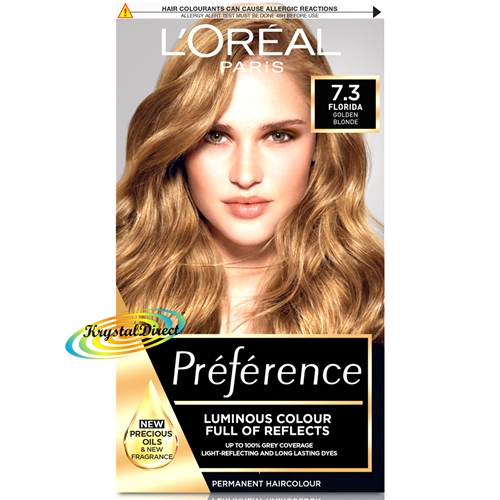 L'Oreal Preference 7.3 Florida Golden Blonde Permanent Hair Colour Dye