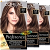 3x Loreal Preference Palma 5 NATURAL LIGHT BROWN Permanent Hair Color Dye