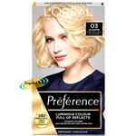 Loreal Preference Les Blondissimes 03 LIGHTEST ASH BLONDE Hair Colour Dye