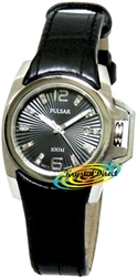 PXT707X1 - Pulsar Ladies Black Leather Date Crystal