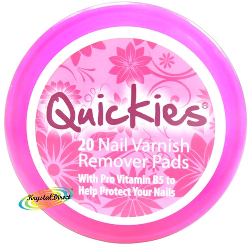 Quickies Nail Varnish Remover Wipes 20 Polish Removal Pads Travel Handbag Size