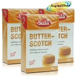 3x Sula Butter-Scotch Natural Sugar Free Boiled Sweets 42g