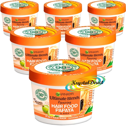 6x Garnier Ultimate Blends Hair Food Papaya 3-in-1 Damaged Hair Mask Treatment 390ml