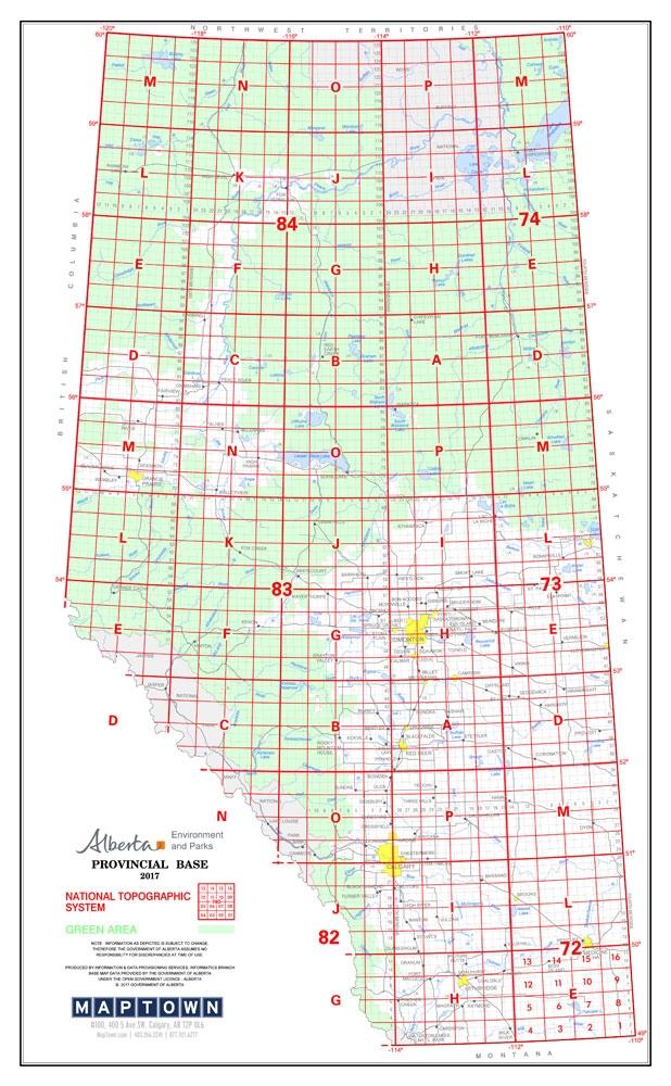 Alberta Canada Township Map Alberta Provincial Base Map Poster NTS