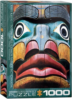 "EuroGraphics Totem Pole Comox Valley BC by Kirs Krug 1000 Piece Puzzle. Box size: 10"" x 14"" x 2.37"". Finished Puzzle Size: 19.25"" x 26.5"". The ancient practice of totem carving has been handed down through generations as a way of preserving the history an"