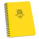 Rite in the Rain FIELD JOURNAL Notebook - Yellow with a side spiral. Made with a Polydura cover and wire-o binding. The 4 5/8 in x 7 in size books also have Field patterns available with numbered pages. 64 pages (32 sheets). This book is waterproof.