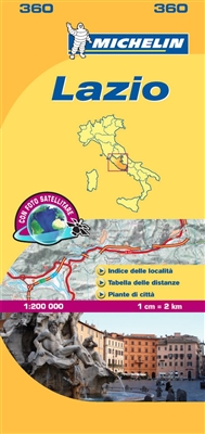 Lazio Italy local road and travel map. The MICHELIN Lazio local map, scale 1:200,000 is the ideal companion to fully explore this Italian region and provides star-rated Michelin tourist itineraries and attractions, as well as impressive 3D relief mapping.