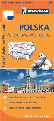 558 - SE Poland regional map. MICHELIN Poland South East Regional Map scale 1/300,000 will provide you with an extensive coverage of primary, secondary and scenic routes for this region. In addition to Michelin's clear and accurate mapping, this regional
