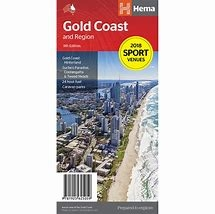 Gold Coast and Region map by Hema is a map full of detail, colour and vibrancy. One side has a complete street and road map of the central Gold Coast area between Southport and Broadbeach, which also shows all the shopping centres, attractions and other f
