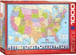 "Map of the USA 1000 Piece Puzzle. Finished size 19.25"" x 26.5"". This educational map includes all major cities, as well as, the capital cities and state flags. Strong high-quality puzzle pieces. Made from recycled board and printed with vegetable based in"