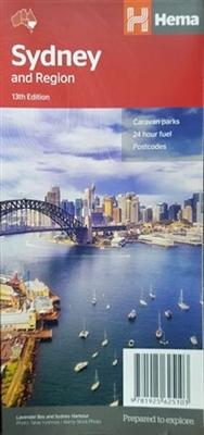 Sydney and Region Hema Map has the greater Sydney region 1:100,000 on one side and a lower scale overview map of the city and surrounding regions on the reverse. Also included are maps of the Sydney CBD, the city's rail and ferry networks and a complete