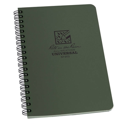 "Waterproof Side Spiral Notebook Green 5x7. These notebooks are made with a Polydura cover and side spiral, wire-o binding. Pages are printed on 4 5/8"" x 7"" Green, non-glare Rite in the Rain paper and feature the Universal page pattern."
