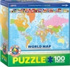 World Map Puzzle for Kids. This Eurographic puzzle is a great learning tool for kids 5 years and up. Colorful with countries labelled for learning. Also shows flags for several countries. 100 pieces.