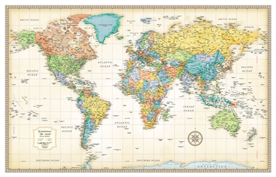 World Wall Classic wall map by Rand McNally. Parchment like paper and rich, subdued colors give this map a sophisticated old-world style while delivering the digital accuracy and extraordinary clarity you'd expect from any Rand McNally map. Printed on hig