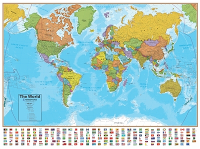 Blue Ocean World Wall Map with Flags. This world map has each country in a different color, has lots of detail and has every flag of the World at the bottom. This map comes laminated and measures 38 inches x 51 inches. This best seller contains great deta