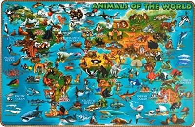 Kids Illustrated World Map - laminated place mat. Teach the basics of geography with this Illustrated map that matches different animals to where they live, both on land and in the water. This sturdy map is easy to clean and will last over time. These mat