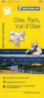 MICHELIN Oise, Paris, Val-d'Oise travel road map. This map covers Beauvais, Pontoise, Paris, Noyon, Senlis, Chantilly and Clermont. MICHELIN local maps are perfect for cyclist and outdoor enthusiasts with over 20 leisure symbols, extensive coverage of cyc
