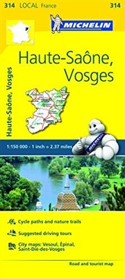 Map of Haute-Saone and Vosges FRANCE - Michelin. This road and tourist map is full colored, highly detailed map that includes 'Plans de Ville', and 'Index des Localites'.  It covers Epinal, Vesoul, Luxeuilles bains Vittel, Saone, Gray, Neufchateau, St. D