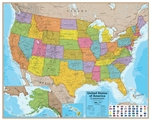 "USA Laminated Wall Map with Flags. This popular Hemispheres United States map is laminated, measures 38"" x 48"" and is widely used. It shows capitals, cities, populations, and major interstates."