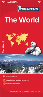 Folded World Map by Michelin. Updated regularly, MICHELIN National Map The World will give you an overall picture of the World thanks to its clear and accurate mapping scale 1:28,500,000. Our map will help you easily help you identify the different co