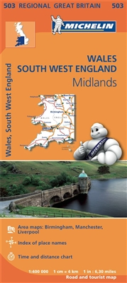 SW England, Wales & Midlands Travel & Road map. MICHELIN Wales, The Midlands, South West England Regional Map scale 1:400,000 will provide you with an extensive coverage of primary, secondary and scenic routes for this region. In addition to Michelin's cl