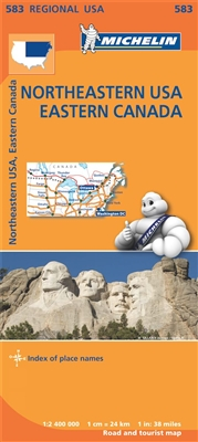 MICHELIN Northeastern USA, Eastern Canada Regional Map. Scale 1:2,400,000 will provide you with an extensive coverage of primary, secondary and scenic routes for this region. In addition to Michelin's clear and accurate mapping, this regional map includes