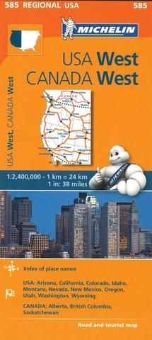 585 - North America - Western Canada and Western USA road map