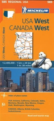 585 North America - Western Canada and Western USA road map. MICHELIN Western USA, Western Canada Regional Map scale 1:2,400,000 will provide you with an extensive coverage of primary, secondary and scenic routes for this region. In addition to Michelin's