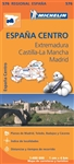 Central Spain - Extremadura Castilla La Mancha - Madrid travel road map. This regional map at a scale of 1:400,000 will provide you with an extensive coverage of primary, secondary and scenic routes for this Spanish region. In addition to Michelins clear