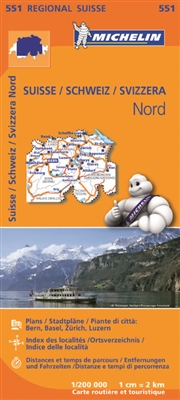 Northern Switzerland Travel & Road Map. MICHELIN Switzerland North Regional Map scale 1:200,000 will provide you with an extensive coverage of primary, secondary and scenic routes for this region. In addition to Michelin's clear and accurate mapping, this