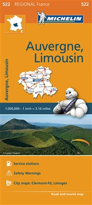 France - Auvergne Limousin Travel & Road Map. MICHELIN Auvergne, Limousin Regional Map scale 1:200,000 will provide you with an extensive coverage of primary, secondary and scenic routes for this French region. In addition to Michelin's clear and accurate