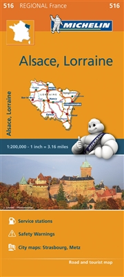 France - Alsace Lorraine Travel & Road Map. MICHELIN Alsace Lorraine Map scale 1:200,000 will provide you with an extensive coverage of primary, secondary and scenic routes for this French region. In addition to Michelin's clear and accurate mapping, this