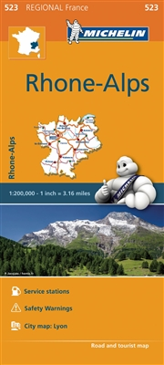 Rhone - Alps of France Travel Map. MICHELIN Rhone-Alps Regional Map scale 1:200,000 will provide you with an extensive coverage of primary, secondary and scenic routes for this French region. In addition to Michelin's clear and accurate mapping, this Regi