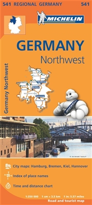 NW Germany Travel Map with Cities. MICHELIN Germany Northwest Regional Map scale 1:350,000 will provide you with an extensive coverage of primary, secondary and scenic routes for this region. In addition to Michelin's clear and accurate mapping, this regi