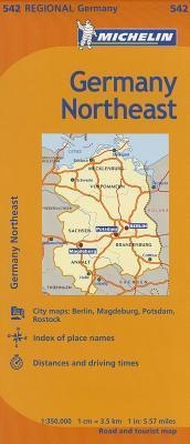 NE Germany Travel Map with Cities. MICHELIN Germany Northeast Regional Map scale 1:350,000 will provide you with an extensive coverage of primary, secondary and scenic routes for this region. In addition to Michelin's clear and accurate mapping, this regi