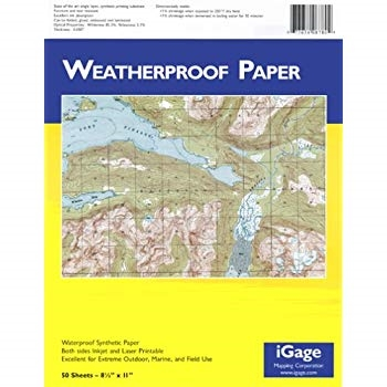 "Waterproof Printer Paper 8.5""x 11"" - 50 sheets. Waterproof synthetic paper both sides inkjet and laser printable. Excellent for extreme outdoor, marine, and field use. 50 sheets in a package. Please note - may not work with all Inkjet printers."
