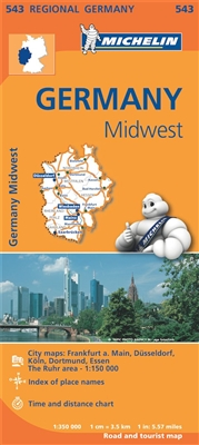 Germany Midwest Regional Travel & Road Map. MICHELIN Germany Midwest Regional Map scale 1:350,000 will provide you with an extensive coverage of primary, secondary and scenic routes for this region. In addition to Michelin's clear and accurate mapping, th