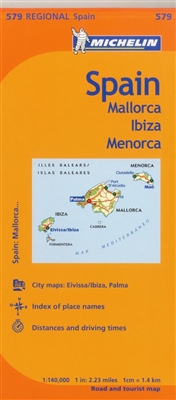 MICHELIN Balearic Islands Regional Map. Scale 1/140,000 will provide you with an extensive coverage of primary, secondary and scenic routes for the Spanish Isles of Mallorca, Ibiza and Menorca. Shows the cities of Eivissa, Ibiza, Palma de Mallorca and Mao