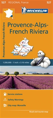 Provence, Alps & French Riviera France travel & road map. This map will provide you with an extensive coverage of primary, secondary and scenic routes for this region. In addition to Michelin's clear and accurate mapping, this regional map includes all th