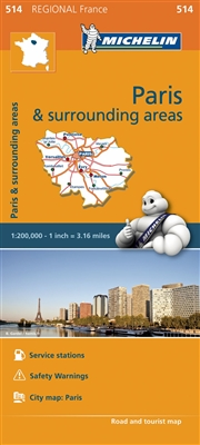 Ile de France - Paris & Surrounding Areas travel & road map. This map will provide you with an extensive coverage of primary, secondary and scenic routes for this French region. In addition to Michelin's clear and accurate mapping, this regional map inclu