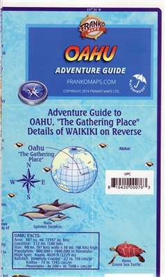 Oahu Hawaii Guide - waterproof map. This guide to Oahu is printed on durable waterproof paper. Includes information of both coastal and inland activities on the island such as historical sites, golf courses, surfing, and campgrounds. Detailed insets of Ho