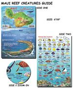 "Maui Hawaii - Fish ID Card. Franko's fish cards are stiff, laminated plastic, with a hole for a lanyard. Take it snorkeling or scuba diving with you! Size of the Fish Card is 6"" x 9""."