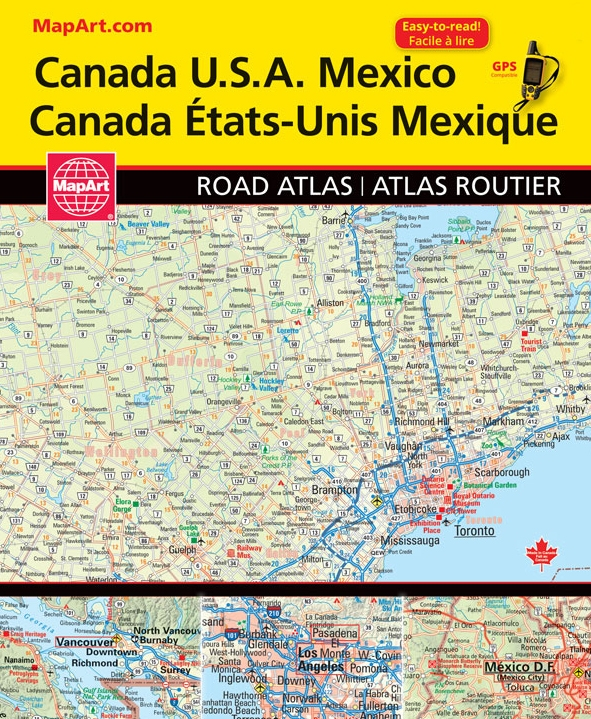 Road Map Usa And Canada Canada, USA & Mexico travel road atlas. Detailed road maps of