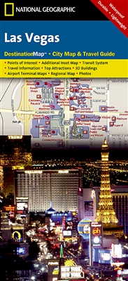 Las Vegas National Geographic Destination City Map. Exploring Las Vegas is as easy as unfolding this sturdy, laminated map. The front features a large-scale city map that highlights tourist and business travel locations with 3-D styled drawings. The back
