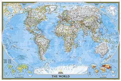 World Classic National Geographic Wall Map Poster