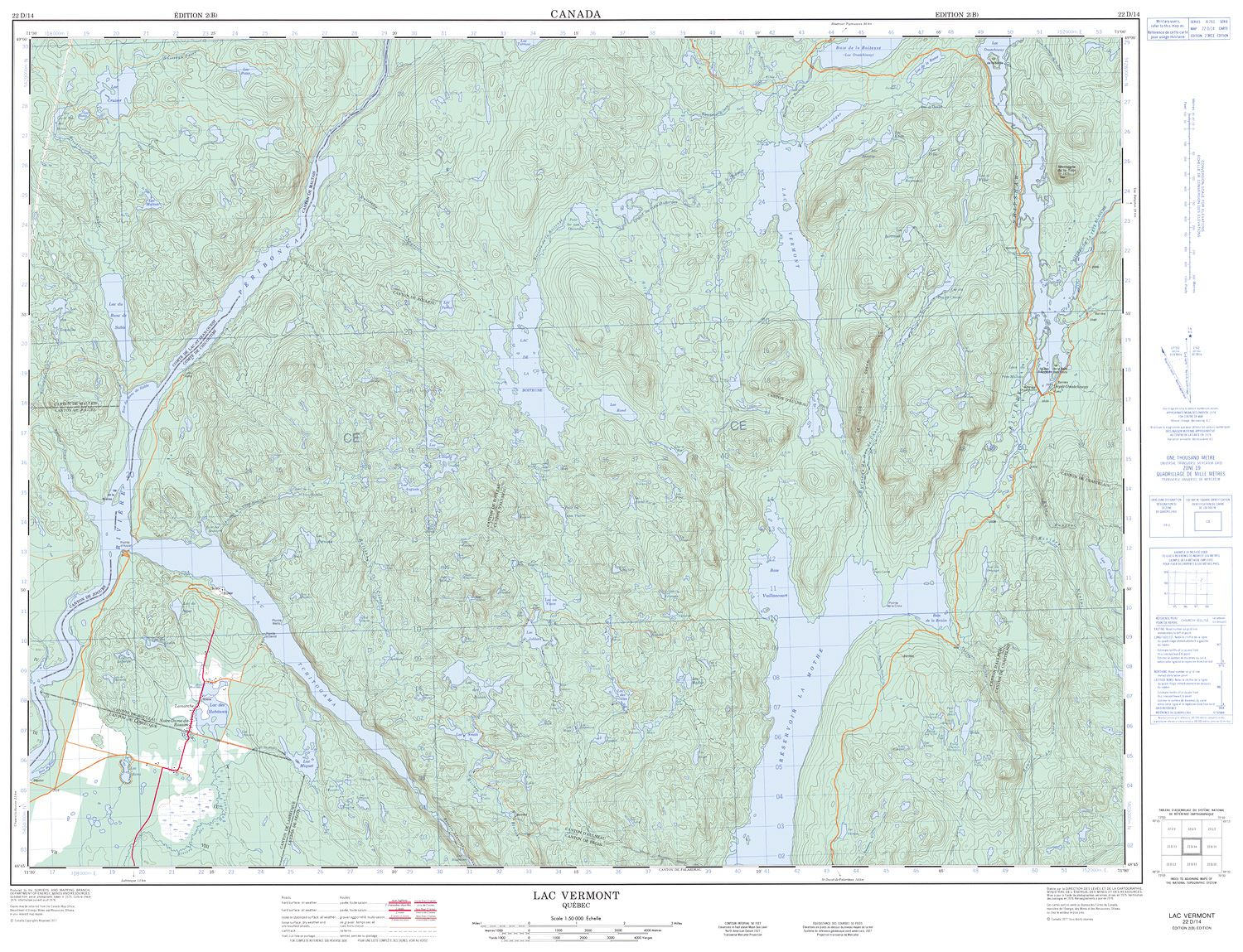 022D14 - LAC VERMONT - Topographic Map