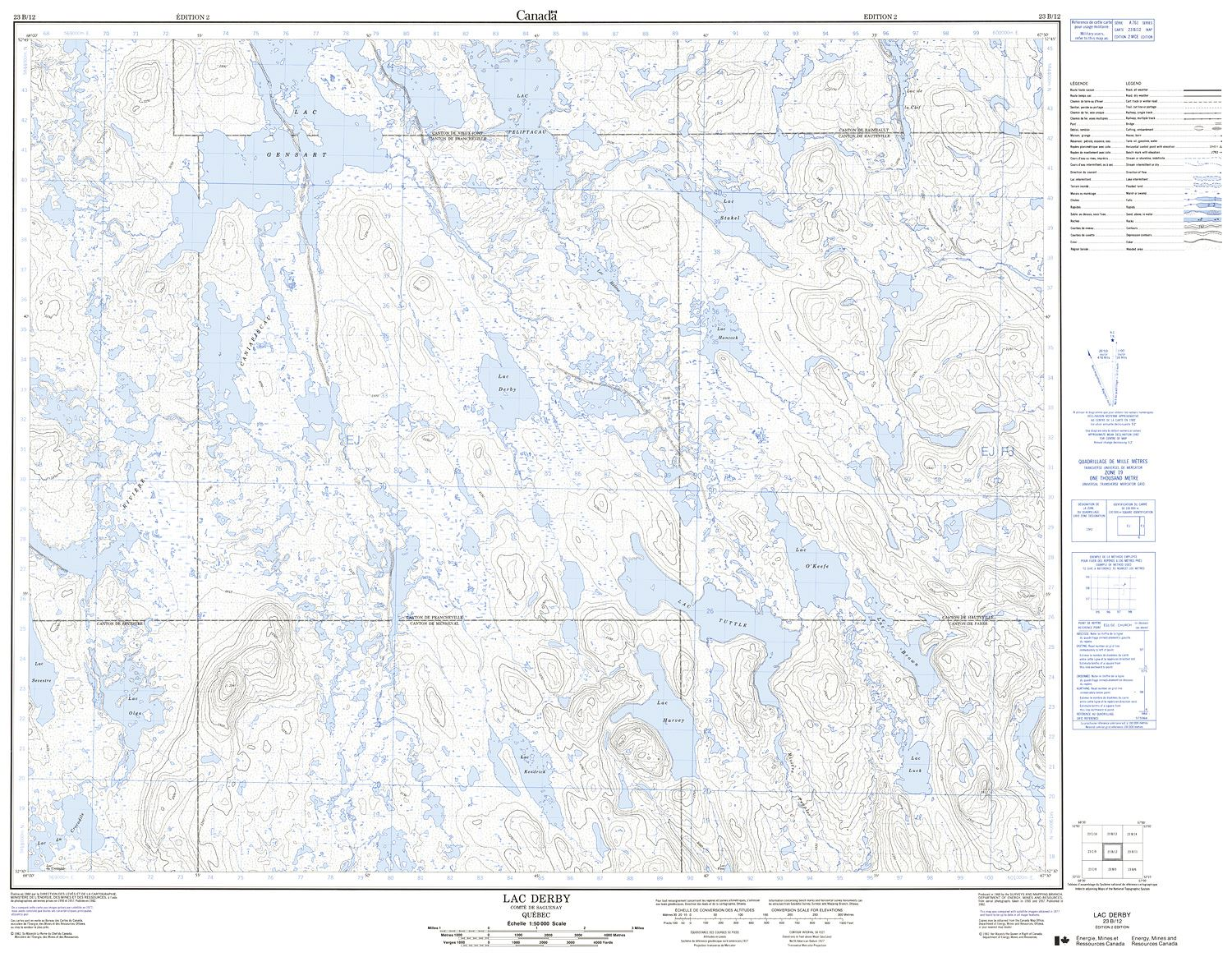 023B12 - LAC DERBY - Topographic Map