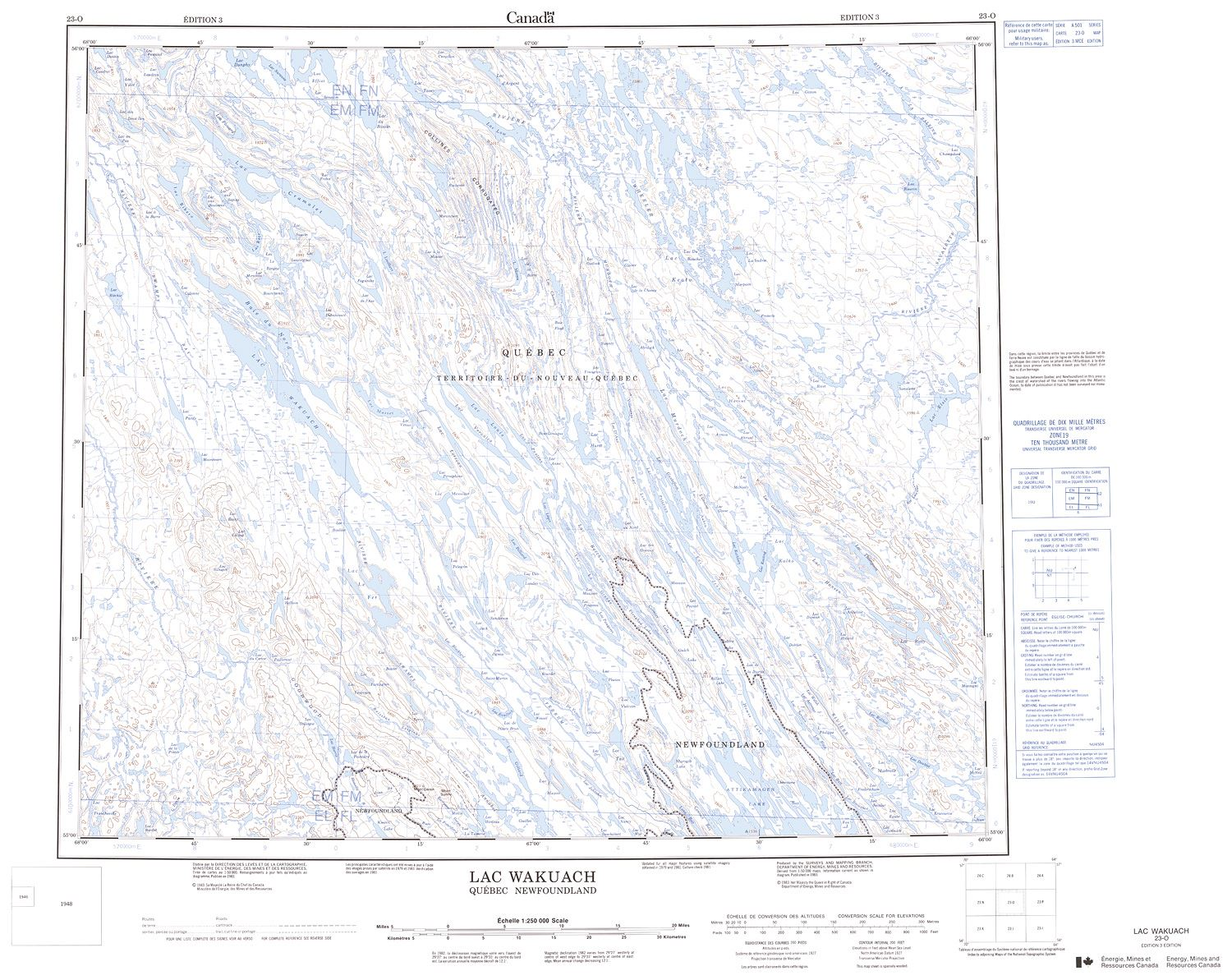 023O - LAC WAKUACH - Topographic Map
